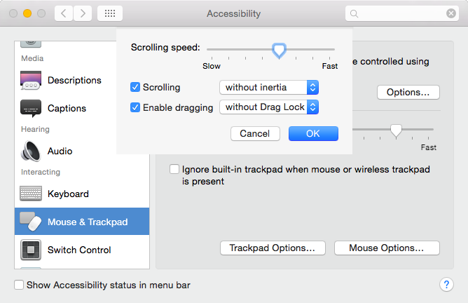 Accessibility - Trackpad